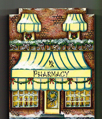 Brandywine CHRISTMAS Downtown Collection: PHARMACY Rx DRUGSTORE Shelf Sitter