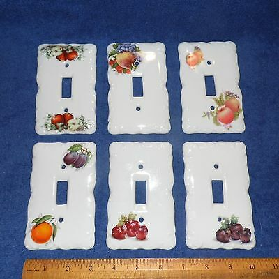 Ceramic Switch Plate Cover Lot of 6 White Porcelain with Different Fruits