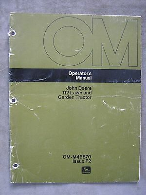John Deere 112 Lawn Tractor operator's manual serial 260,001 up