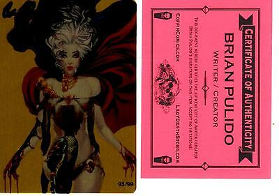 Lady Death Metallicard GOLDEN 93/99 sign by Brian Pulido COA FREE UK POST