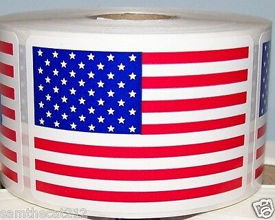 100 2 x 3  AMERICAN / USA FLAG LABEL STICKER