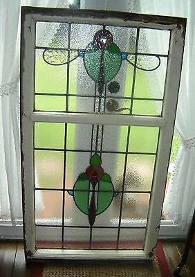 Antique Art And Crafts Large Stained Glass Window in Original Wood Frame C.1905