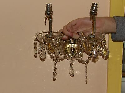 Fab Cut Glass Wall Light Chandelier 2 Arm With Crystals, Buttons & Bobeches