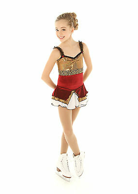 New Competition Skating Dress Elite Xpression 1307 Red Velvet Gold Foil AS SMALL