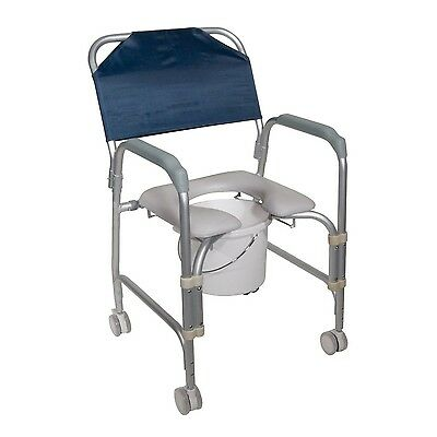 Lightweight Portable Shower Chair Commode W/ Casters 11114KD-1 By Drive Medical