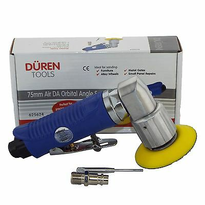 "75mm Mini Air Sander/Polisher Kit (3"") 25 Sanding Discs + Polishing & Foam Heads"