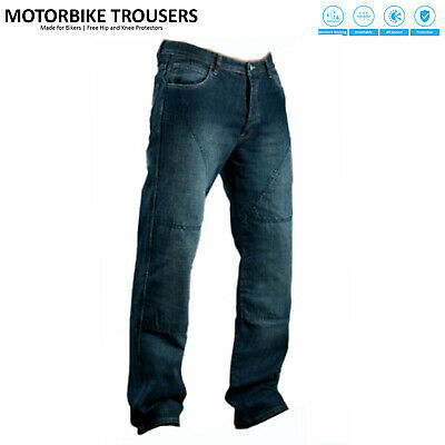 Mens Motorcycle Motorbike Biker Jeans Trouser Pants Aramid Protective Lining