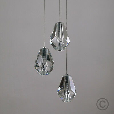 Contemporary Chrome 3 Way Ceiling Light Cluster with Clear Cut Glass Shades NEW