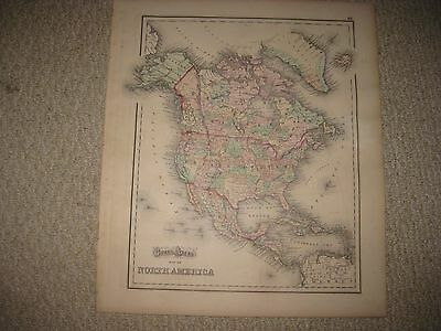Large Antique 1873 West Indies & North America Map Cuba Jamaica United States Nr