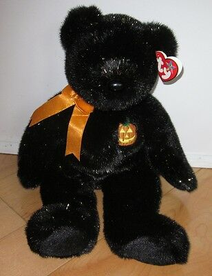 "TY BEANIE Buddies Haunt Halloween Black Bear 14"" High"