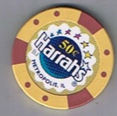 Harrah's Hotel 50¢ Fractional Seven Star Casino Chip Metropolis Illinois