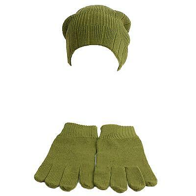 Men's Winter Soft Warm Ribbed 2ply Long Knit Beanie Hat Cap & Glove Set Olive L