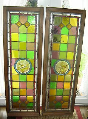 Antique Victorian Stained Glass Windows Matching Pair Hand Painted Flowers C1890