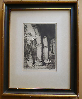 Mary Jenks Coulter, Listed California Mission Capistrano Etching Print, Signed