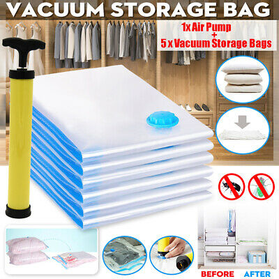 5x Large Vacuum Storage Bag Space Saving Anti Pest Clothes Quilts Organizer Dorm