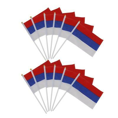 Pack 12 Russian Federation Hand Waving Flags National Flag of Russia w/ Pole