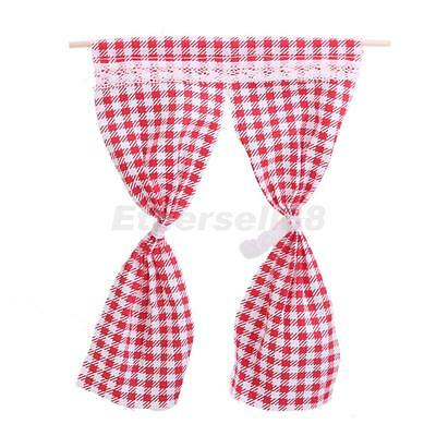 1/12 Miniature Curtain Handicrafts Model for Dollhouse Decoration Red Grid