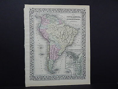 1874 Mitchells New General Atlas Single Page S8#1 South America
