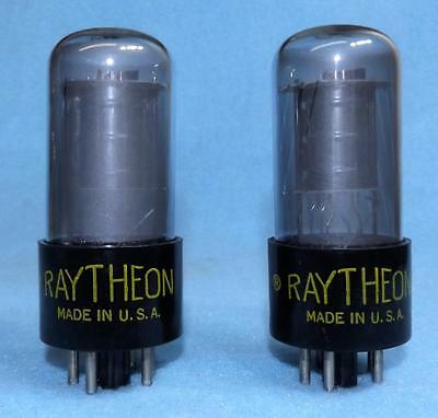 2 Raytheon 6K6GT Vacuum Tubes Amplitrex Tested Matched Pair Gray Glass