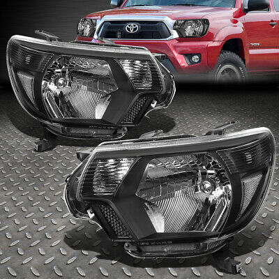 For 2012-2015 Toyota Tacoma Pair Black Housing Clear Conrer Headlight/lamp Set