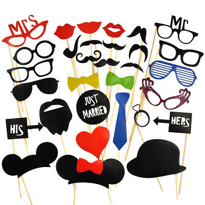 31Pcs Wedding Party Photo Booth Props on A Stick Masks Moustache Glasses Frame