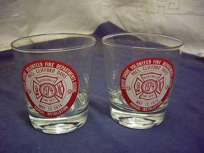Lot of 2 Vintage Hicksville Fire Department glasses Long Island NY firefighter