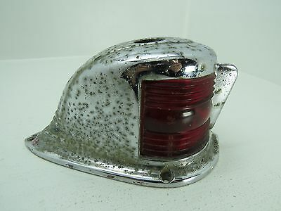 Old Chrome Bow Light With Red Lenses Boat Sailboat Ship (#1168)