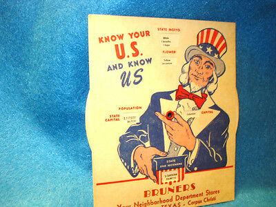 Vintage Know Your U.S. And Know U,S, Information  Card Bruners Store Giveaway