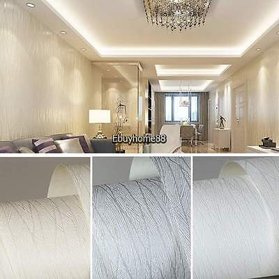 10M Wave Lines 3D Flocking Embossed Textured Wallpaper Roll Non-woven Wall Paper