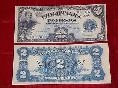 1944 Unc. Us/philippines 2 Silver Peso Victory Copy Note Read Description!