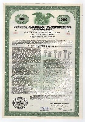 General American Transportation Corp. Bond w/coupons
