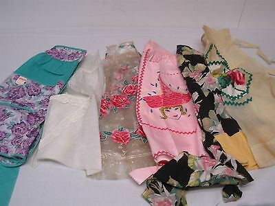 6 Vintage Pretty Ladies Half Aprons ~ Pretty Flowers, Lady In Hat, & Plastic