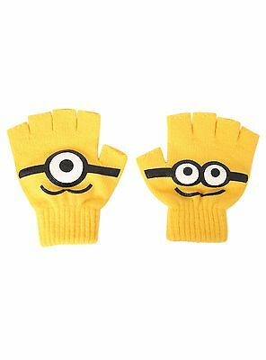 NWT Despicable Me Minions Yellow Fingerless Knit Big Face Gloves Junior Sz