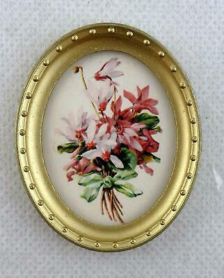 Dolls House Miniature Accessory Posy of Flowers Picture in Oval Gold Frame