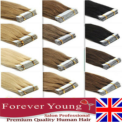 8A Russian 100G Tape In Thick-Glue Remy Real Human Hair Extensions UK STOCK New