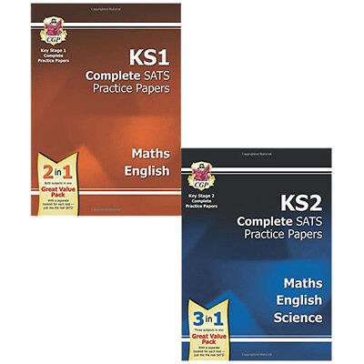 New KS1 & KS2 Complete SATS Practice Papers Pack 2016 Collection 2 Books Set NEW
