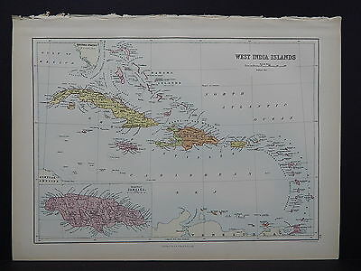 Black's 1876 Atlas, Cuba Porto Rico Jamaica Haiti Dominica Virgin Islands S3