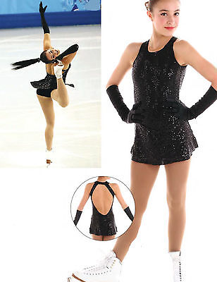 New Competition Skating Dress Elite Xpression BLACK Sequins SLEEVELESS AXL