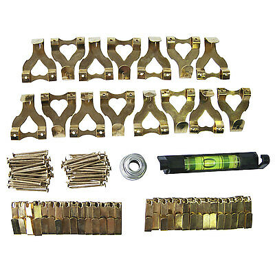 117 Picture Hanging Kit Mirror Photo Frame Hooks Brass Nail Level Wire Set Wall