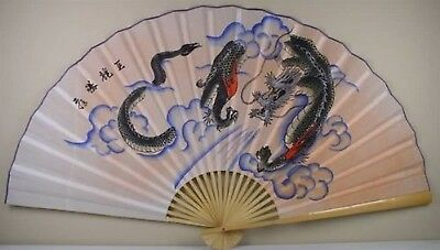 """Classic 35"""" Oriental Feng Shui Wall Fan-Dragon"""