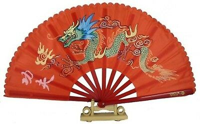 """13"""" Dragon Design Kong Fu Fan Red"""