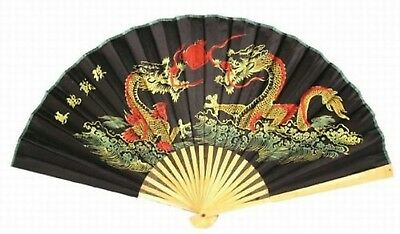 """Classic 20"""" Oriental Feng Shui Wall Fan-Black Dragon"""