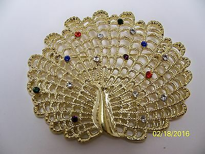 Gorgeous fanned Peacock, multi-colored crystal rhinestones pin / brooch #1 NEW!