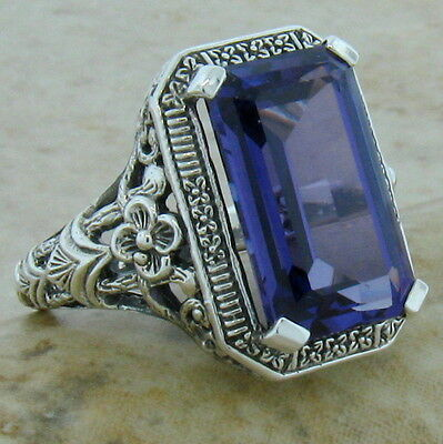 8 Ct LAB ALEXANDRITE ANTIQUE DECO DESIGN .925 STERLING SILVER RING SIZE 6, #1