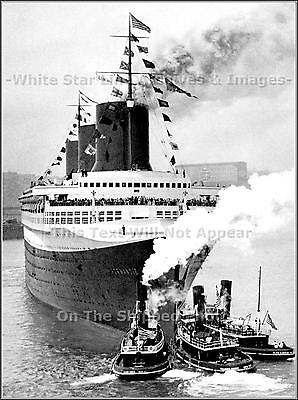 Photo: Epic View: The Normandie & 3 Moran Tugs After 1935 Riband Run To New York