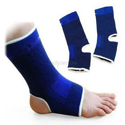 2Pcs Elastic Ankle Support Brace Compression Wrap Sleeve Sports Relief Pain Feet
