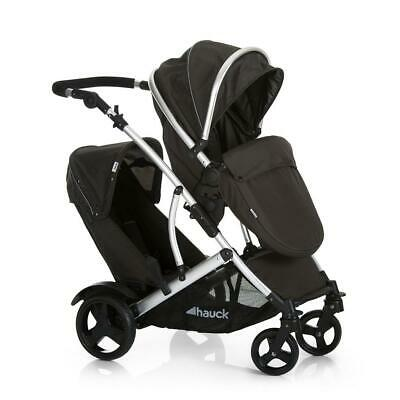 Hauck Duett 2 Tandem Pushchair (Black) inc Apron, 2nd Seat & Rain Covers