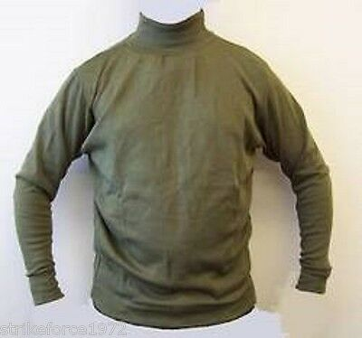 Army Issue AFV Crewmans Thermal Olive Green Roll-Neck Under Shirt - Size SMALL