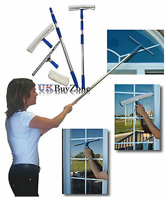 Telescopic Window Cleaning Washing Kit Equipment Extendable Pole Squeegee Washer