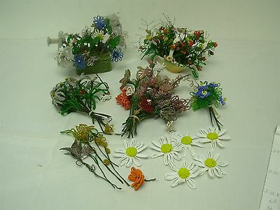 Large Lot Vintage French Glass Beaded Flowers ~ All Hand Made So Pretty!